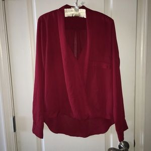 Anthropologie EVERLY French tuck red blouse Large